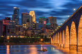 Minnesota, Minneapolis, Stone Arch Bridge, Stone Arch Blue Hour, Mississippi River, Bridge, Blue Hour, Saint Anthony Falls, Downtown