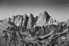 Mount Whitney, California, Sierra Nevada, Mountain, Inyo, Tulare, First Light, John Muir, Black and White, Monochrome