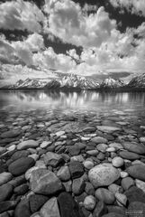 Jackson Lake, Grand Teton National Park, Wyoming, Rainbow Rocks, Pebbles, Black and White, Monochrome