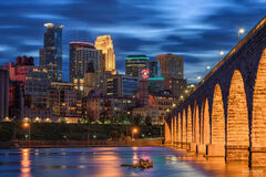 Minnesota, Minneapolis Skyline, Stone Arch Bridge, Stone Arch Blue Hour, Mississippi River, Saint Anthony Falls, Downtown