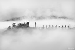 Val d'Orcia, Tuscany, Italy, San Quirico d'Orcia, Siena, Valdorcia, The Mirage, Black and White