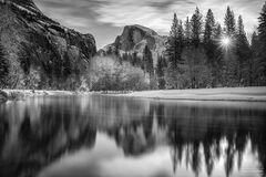 Yosemite National Park, California, Winter Solstice, Black and White, Monochrome, Half Dome