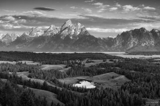 Grand Teton National Park, Wyoming, Black and White, Monochrome, A Grand Morning
