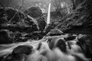 Elowah Falls, Oregon, Columbia River Gorge, Boulder Alley, Waterfall, McCord Creek Falls, Black and White, Monochrome