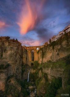 Spain, Legend of Ronda, Malaga, Andalusia, El Tajo Canyon, Puente Nuevo