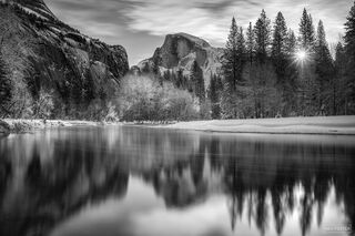 Yosemite National Park, California, Winter Solstice, Black and White, Monochrome, Half Dome