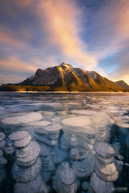 Abraham Lake, Alberta, Canada, Frozen Bubbles, Brilliant Depths, Methane Gas,