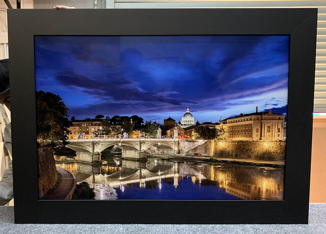 A 24x36 Gallery Ultra+ Trulife Acrylic Print of Eternal Light with a Ramino Black frame (no liner).