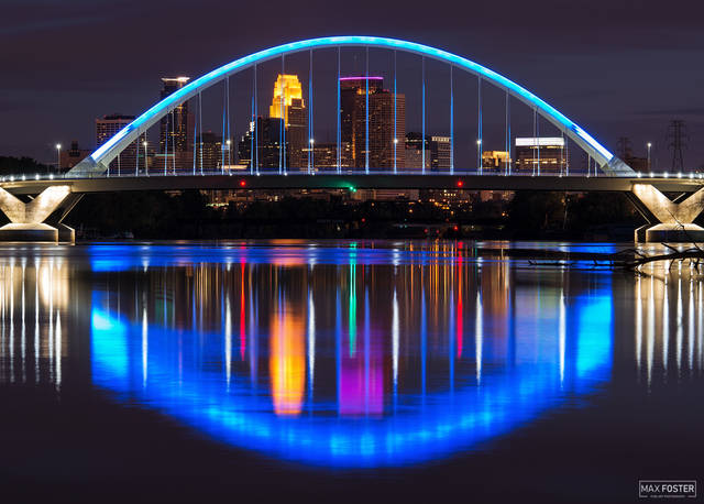 Minnesota, Minneapolis, Lowry Avenue Bridge, Mississippi River, Lowry Luminance