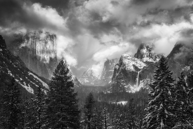 Yosemite National Park, California, Majestic Valley, Black and White, Monochrome