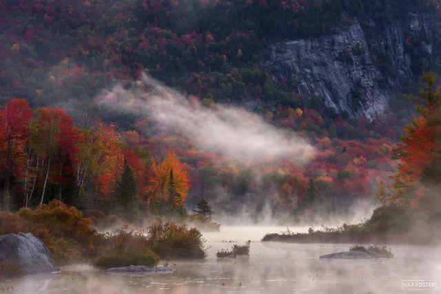 Groton State Forest, Vermont, Groton, Fall, Autumn, State Forest, Forest, Mist Rising, Mist, Water