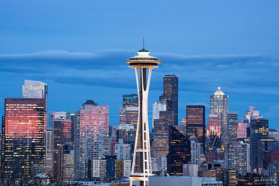 Seattle Skyline, Washington, Eye of the Needle, Seaport, West Coast, Puget Sound, Pacific Ocean, Space Needle