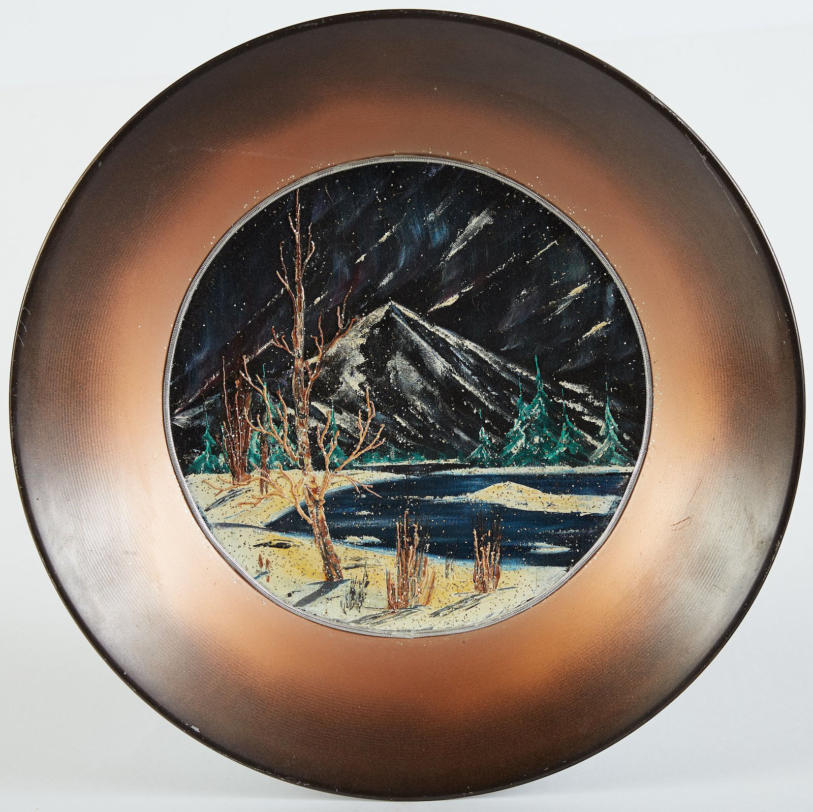 Bob Ross, Alaskan Mountains, Original Oil on Velvet inside Gold Pan. Image Used with Permission © Modern Artifact.