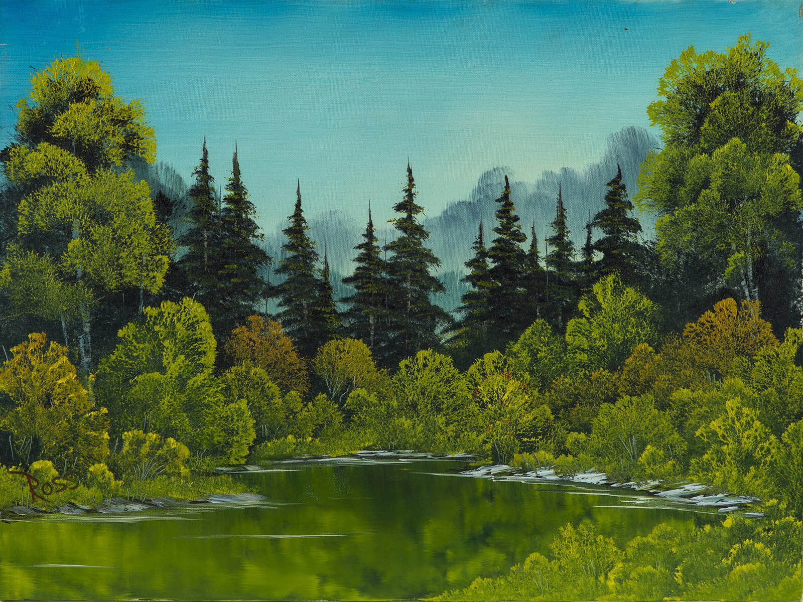 Bob Ross, Meadow Lake, Original Oil Painting, 1982. Image Used with Permission © Modern Artifact.