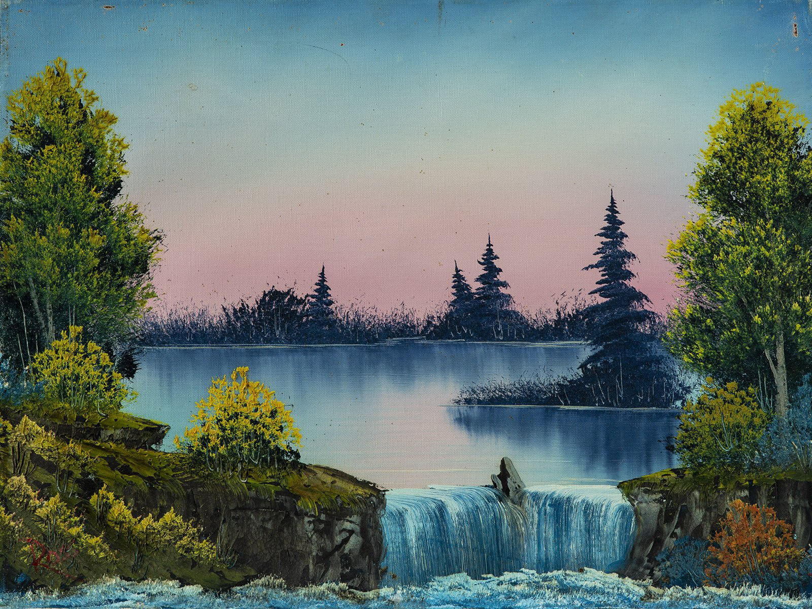 Bob Ross, Misty Waterfall, Original Oil Painting, 1980. Image Used with Permission © Modern Artifact.