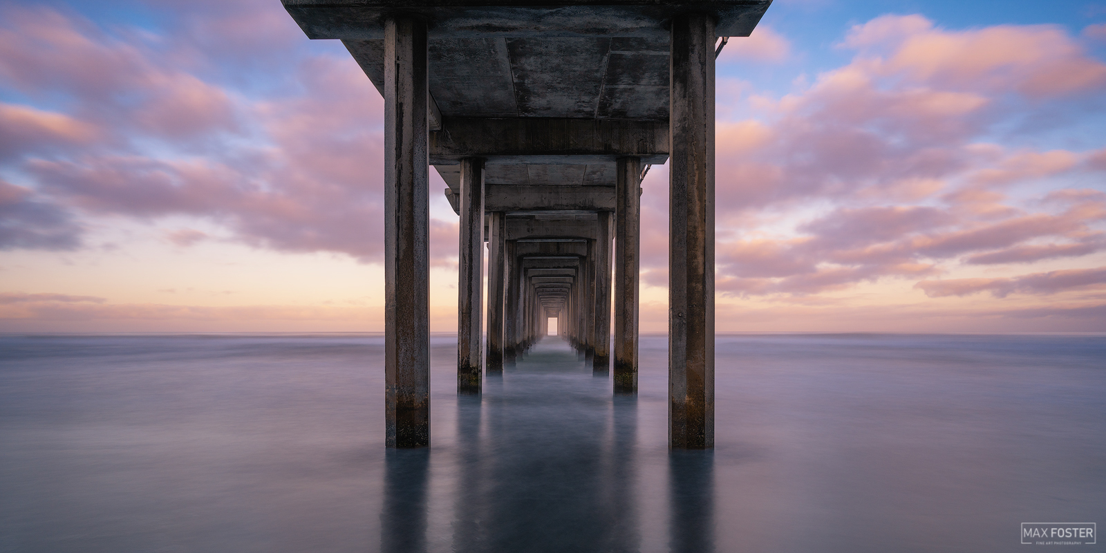 Fine Art Limited Edition of 100 The panoramic format version of Cotton Candy Skies, taken at Scripps Pier in La Jolla, California...