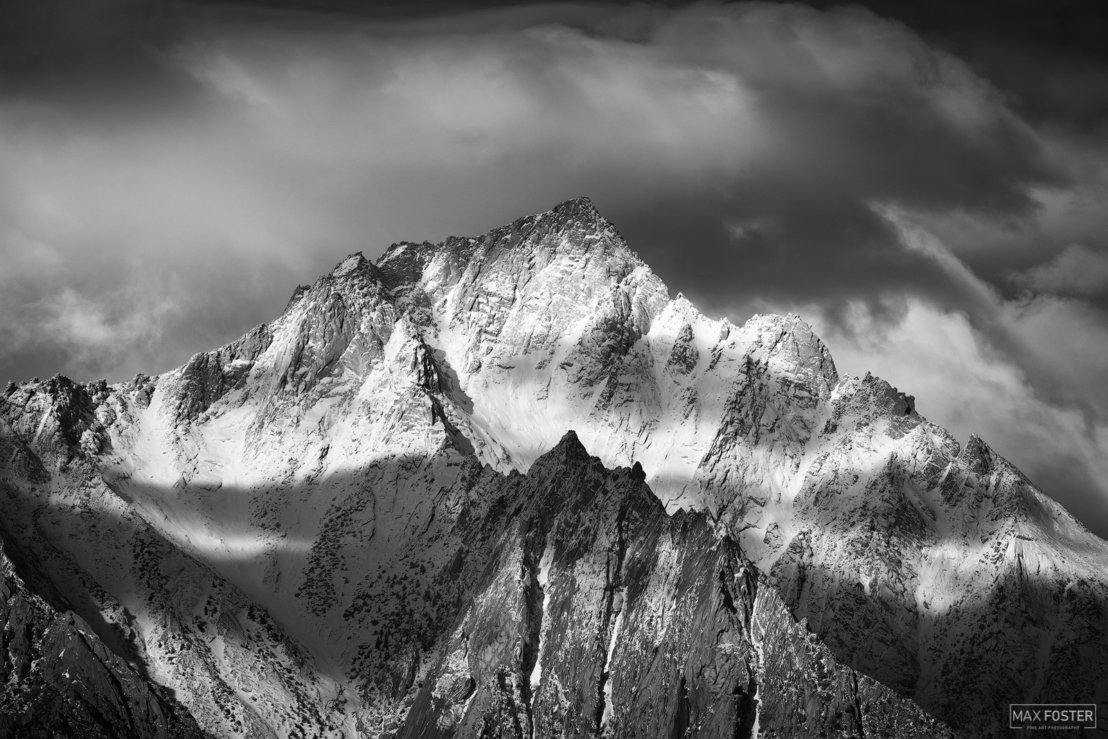 Fine Art Limited Edition of 50 The black and white or monochrome version of Dressed in White, taken of a Lone Pine Peak in California...