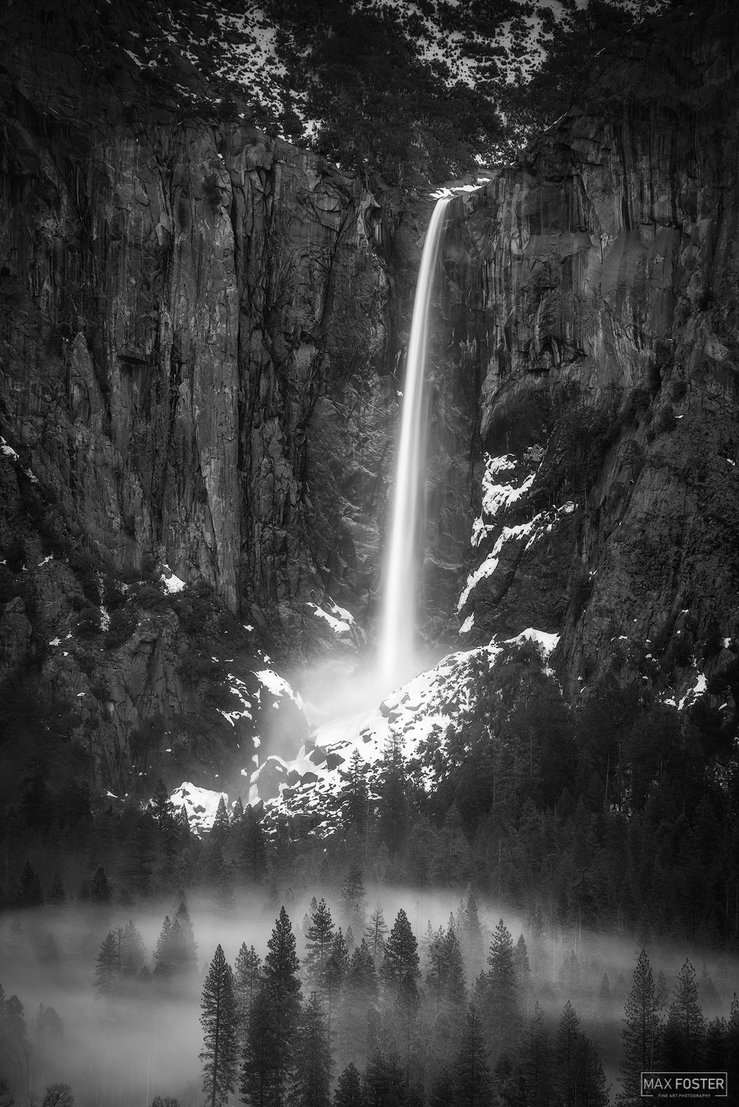 Yosemite National Park, California, Bridalveil Falls, Yosemite Valley, Black and White, Monochrome, Echoes of a Dream, Waterfalls, photo