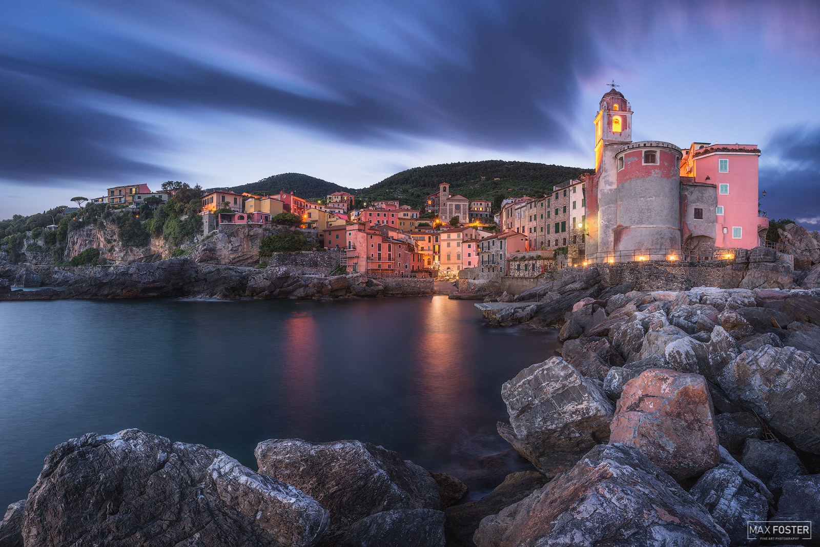 Fine Art Limited Edition of 50 Tellaro is a small fishing village, perched on a cliff on the east coast of the Gulf of La Spezia...