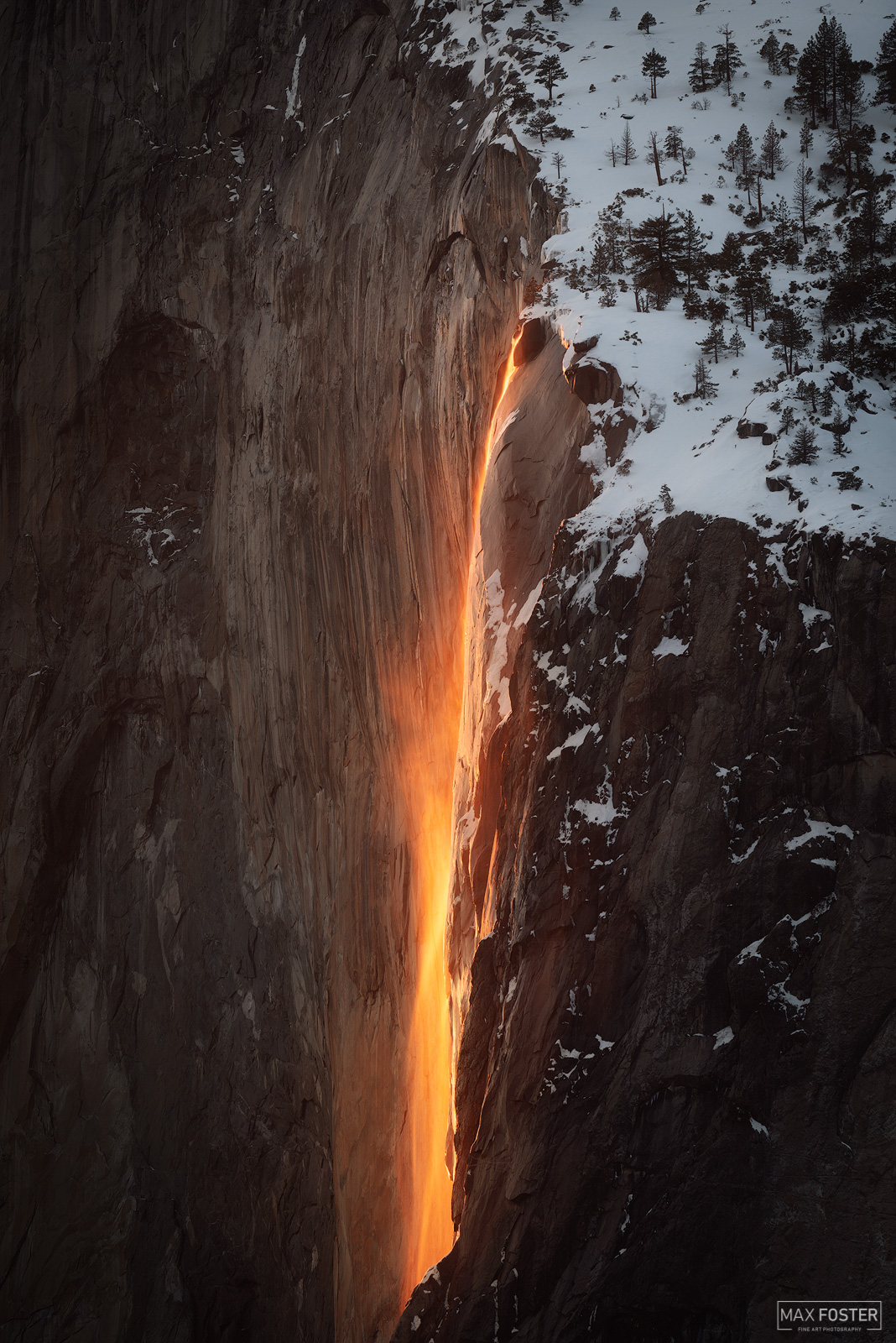 Fine Art Limited Edition of 50 For a couple of weeks around mid-February, Horsetail Falls in Yosemite National Park may be lit...