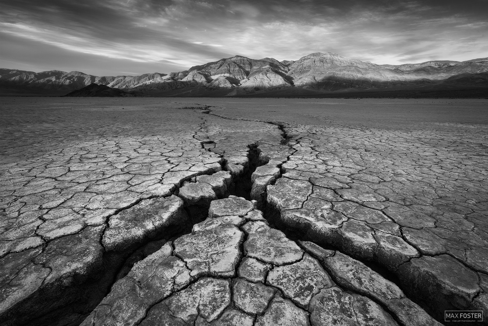 Death Valley National Park, California, Forces of Nature, Cracks, Mudcracks, Mud Cracks, Cracked Mud, Monochrome, Black and White, photo