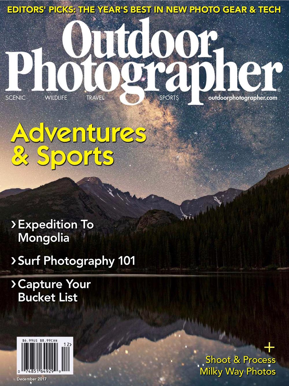 Outdoor Photographer Magazine, December 2017, Trillium Twilight, photo