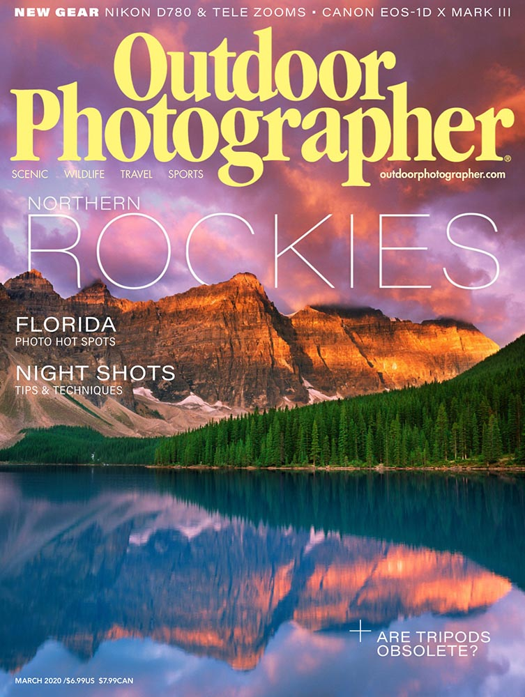 Outdoor Photographer Magazine, March 2020, Forces of Nature, Mud Cracks, RV Road Trip, photo