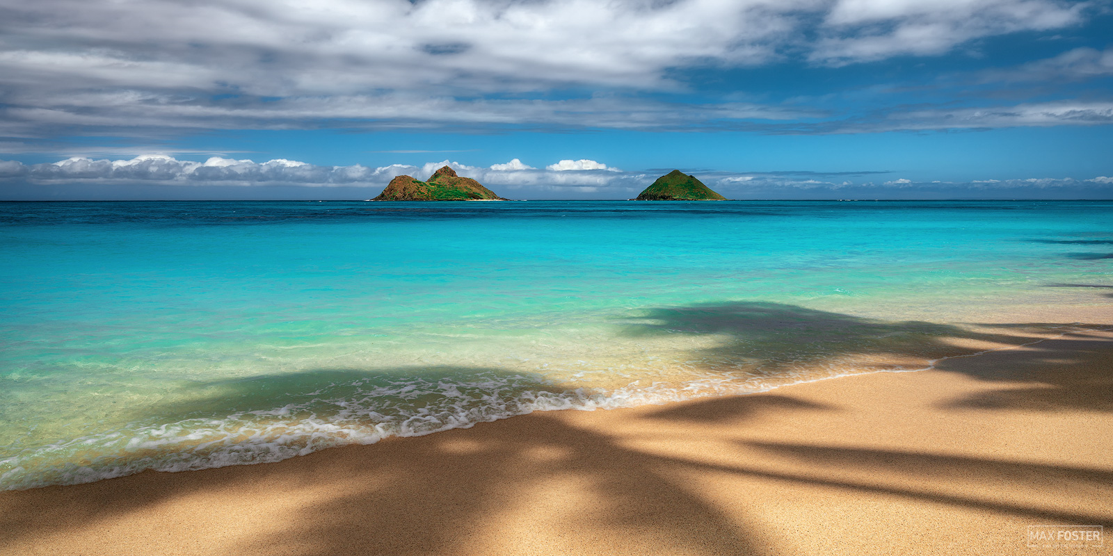 Fine Art Limited Edition of 100 The panoramic format version of Palm Trees & Daydreams, taken at Lanikai Beach in Oahu, Hawaii...