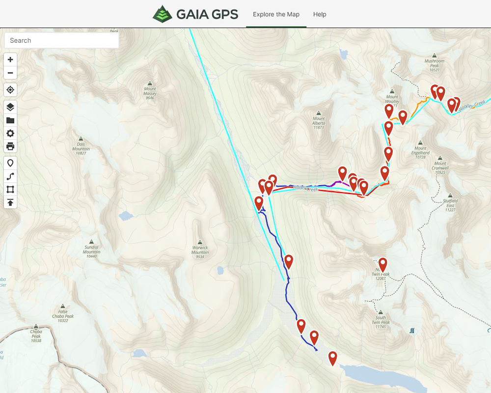 Gaia Map Showing Preplanned Routes and Actual Recorded Tracks