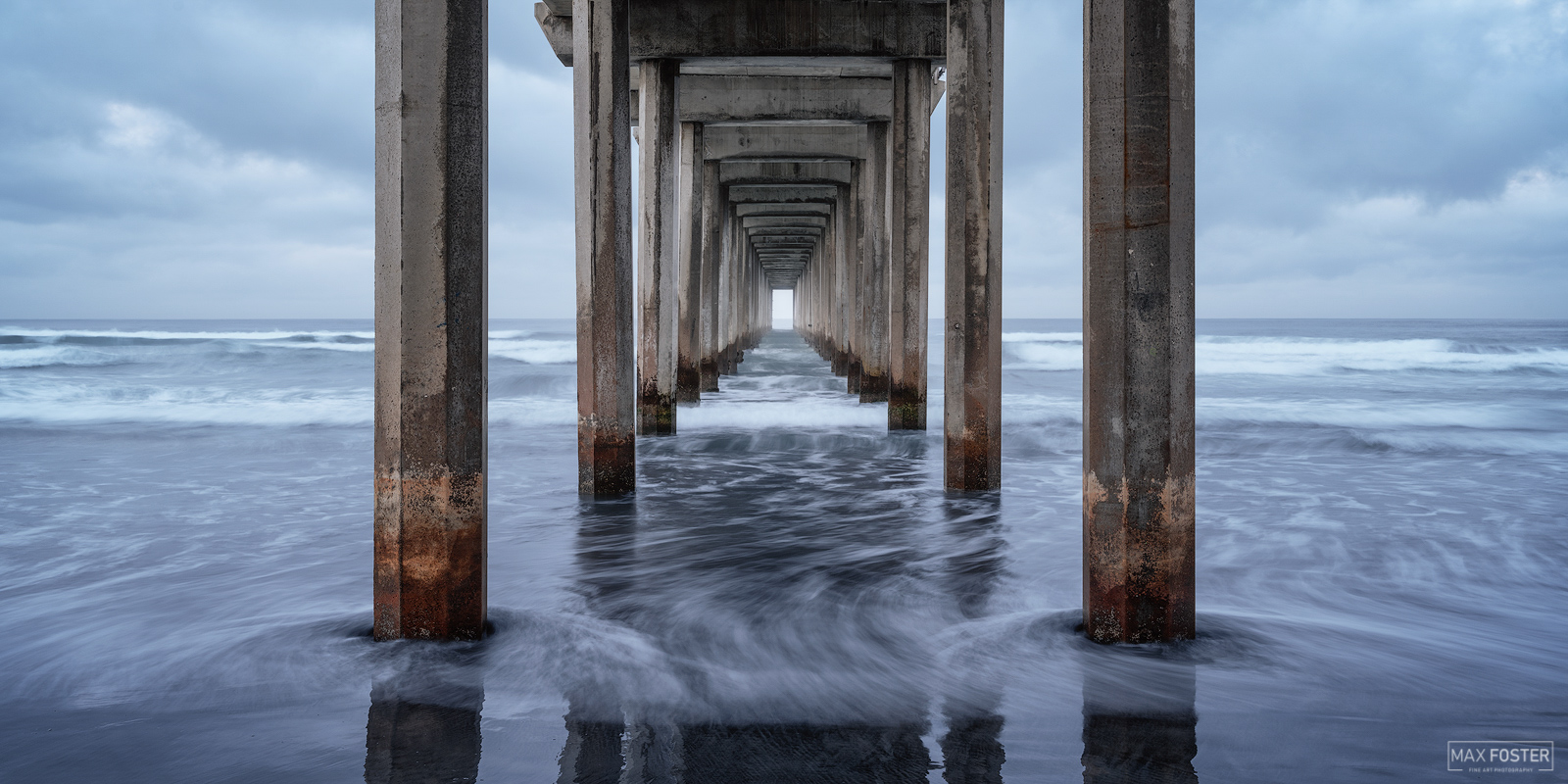 Fine Art Limited Edition of 100 The panoramic format version of Saltwater Blues, taken at Scripps Pier in San Diego, California...