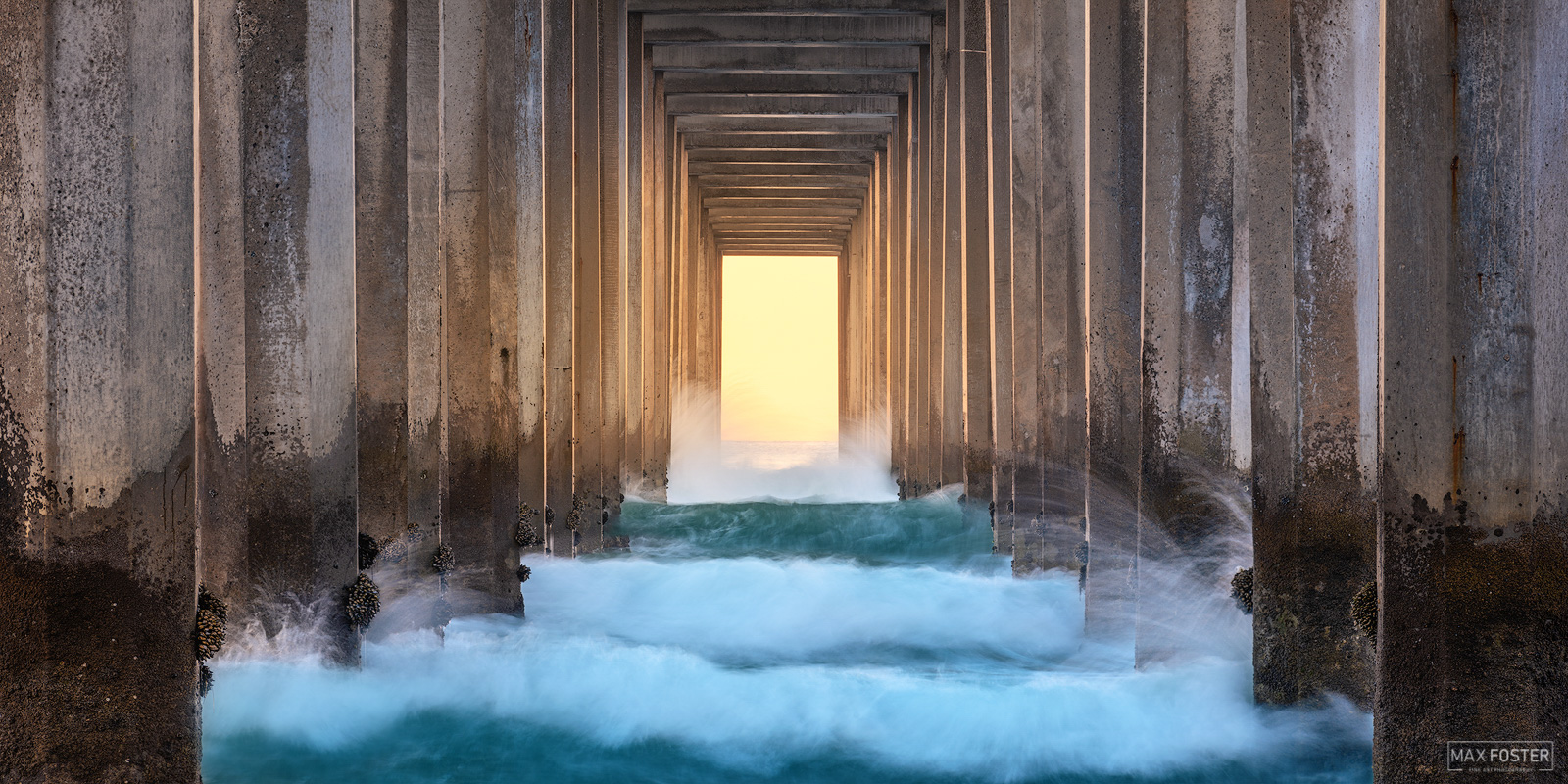 Fine Art Limited Edition of 100 The panoramic format version of Sea Portal, taken at Scripps Pier in La Jolla, California. Photo...