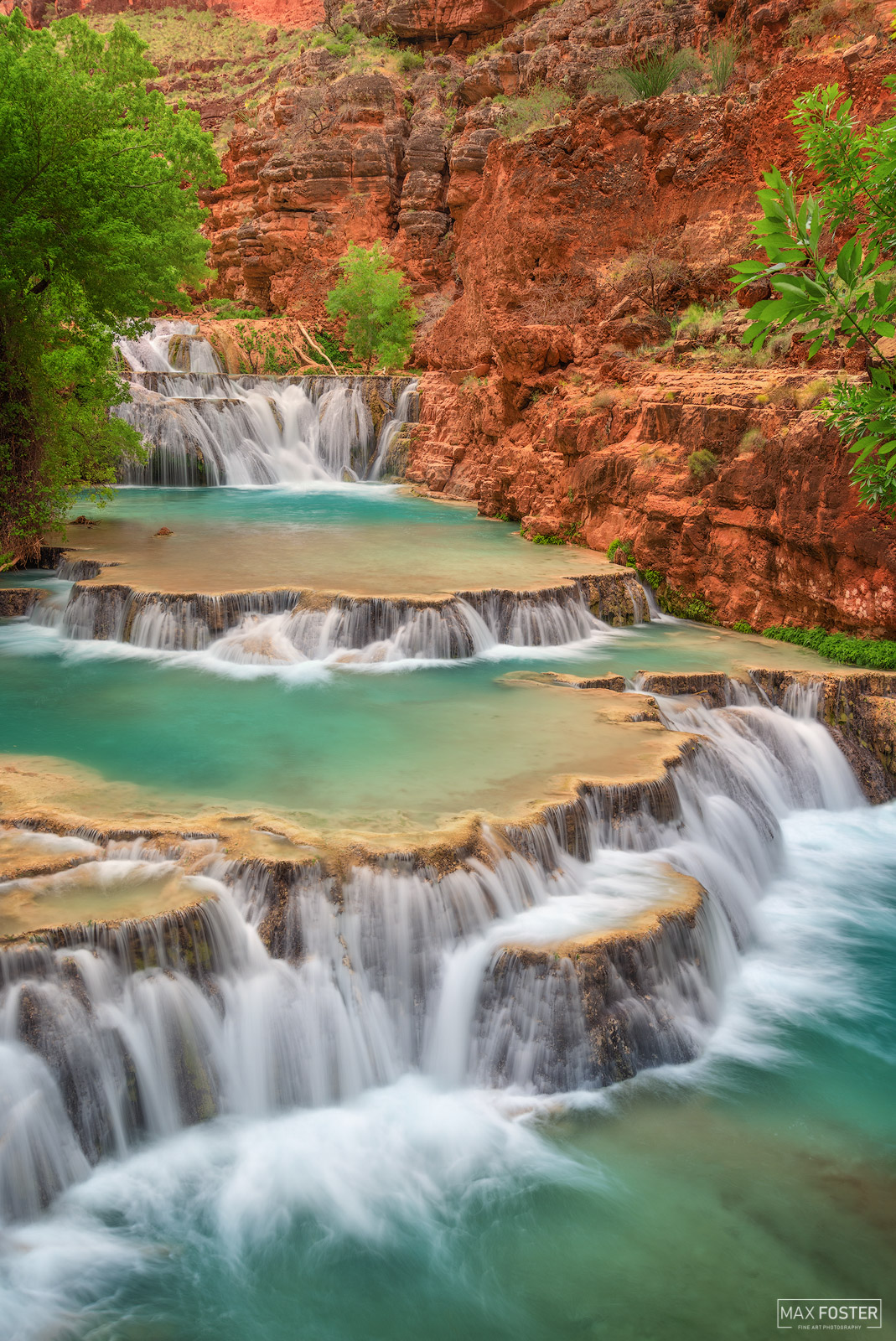 Fine Art Limited Edition of 50  Beaver Falls is a waterfall of Havasu Creek, located within Havasupai tribal lands in the Grand...