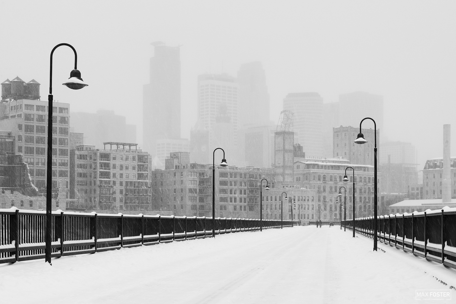 Fine Art Limited Edition of 50 The black and white or monochrome version of Snowy Stone Arch, taken of the Stone Arch Bridge...
