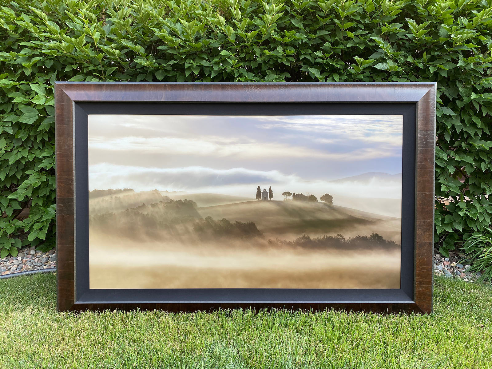 A 60 inch Lumachrome TruLife Acrylic Print with a Wood Frame and Linen Liner