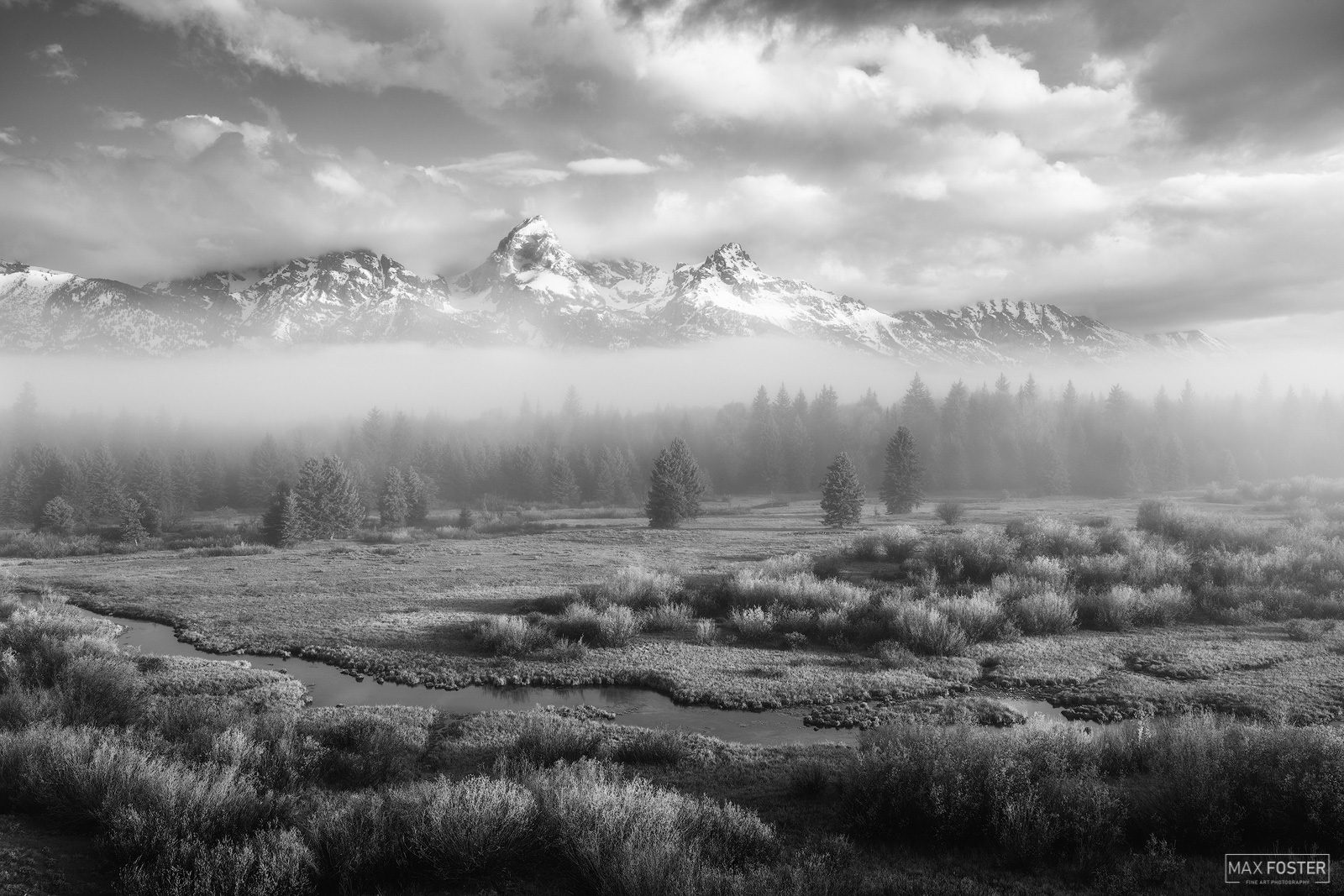 Fine Art Limited Edition of 100 The black and white or monochrome version of Springtime Grandeur, taken at Grand Teton National...