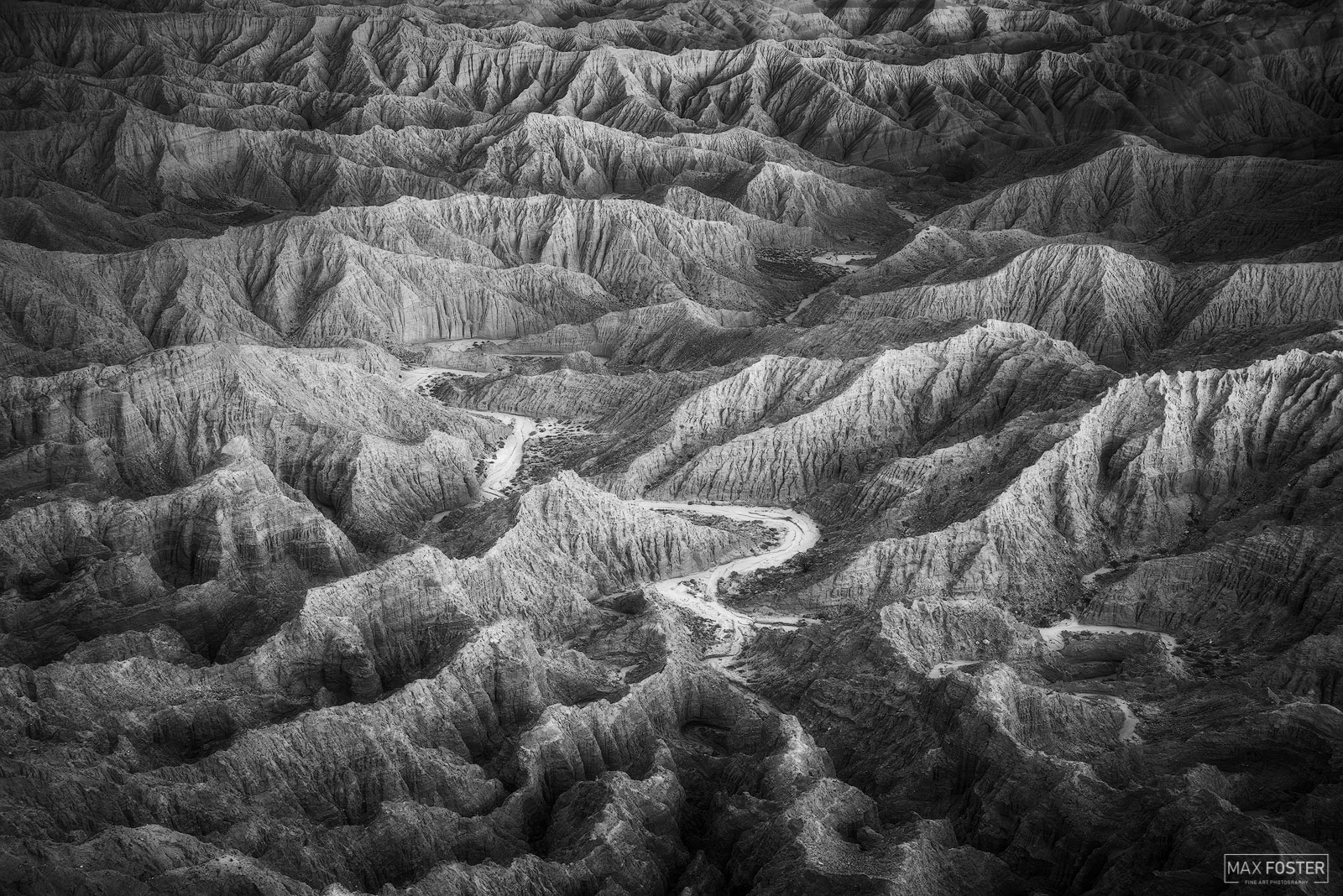 Fine Art Limited Edition of 50 The black and white or monochrome version of The Path Less Traveled, taken in the Anza Borrego...