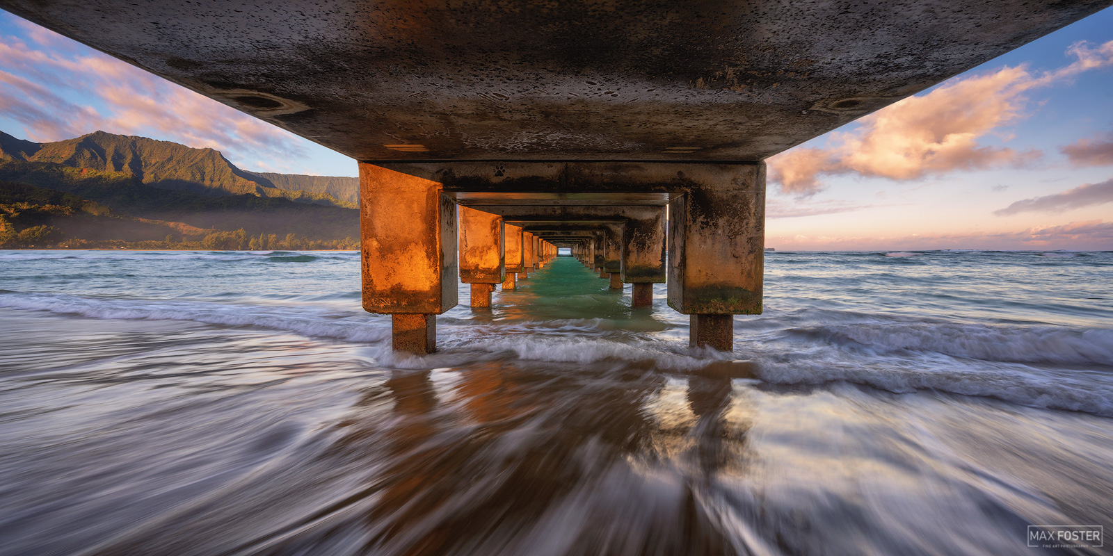 Fine Art Limited Edition of 50 The panoramic or pano version of Understudy, taken at Hanalei Pier in Kauai, Hawaii. Photo ©...
