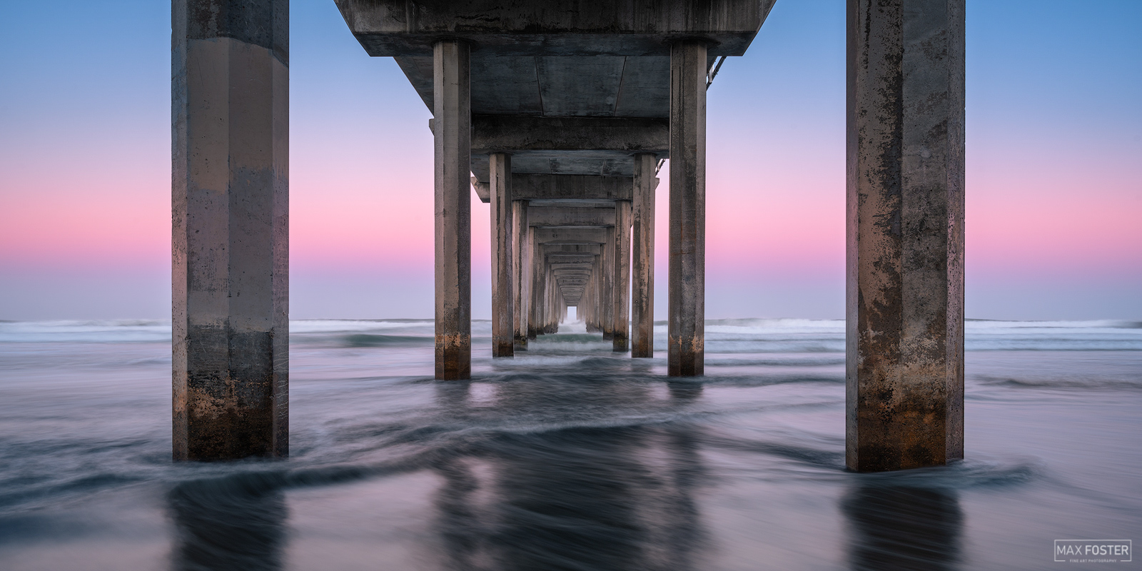 Fine Art Limited Edition of 100 The panoramic format version of Washed Away, was taken at Scripps Pier in La Jolla, California...